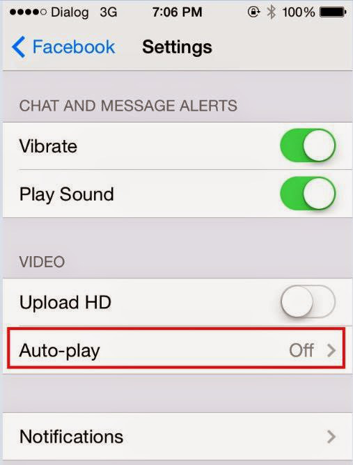 Turn off facebook video autoplay in iPhone