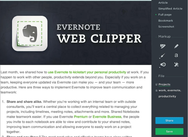 2. evernote google chrome plugin