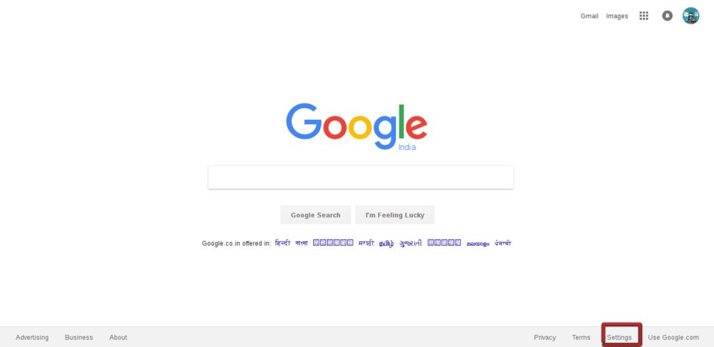 settings in google search