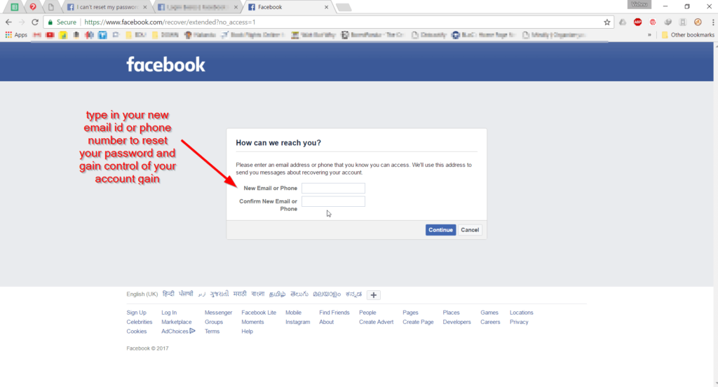 Type new mail id for Facebook