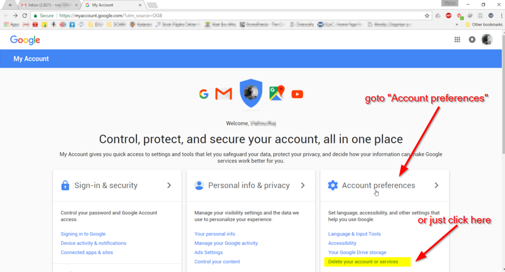Delete Google Services or Google Account