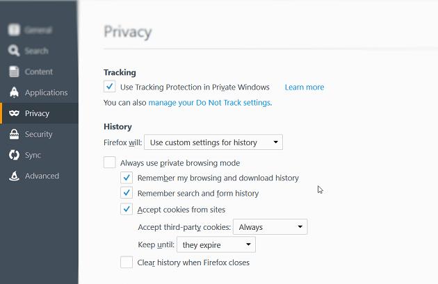 Turn On cookies in Firefox browser