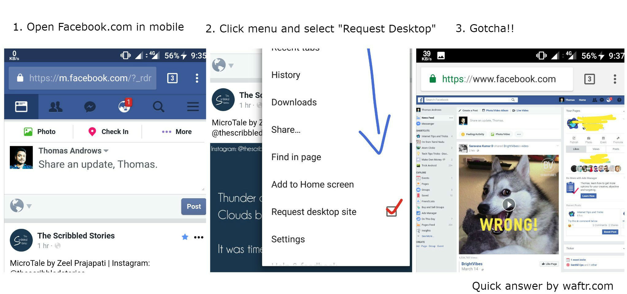 Facebook desktop view in Mobile