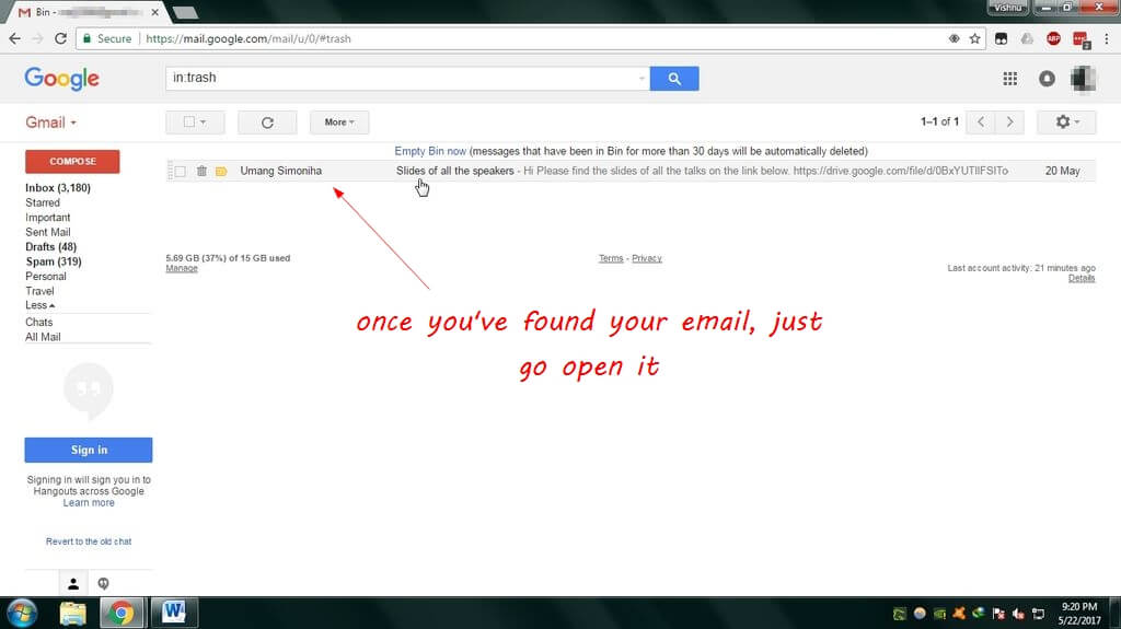 retrieve gmail mails
