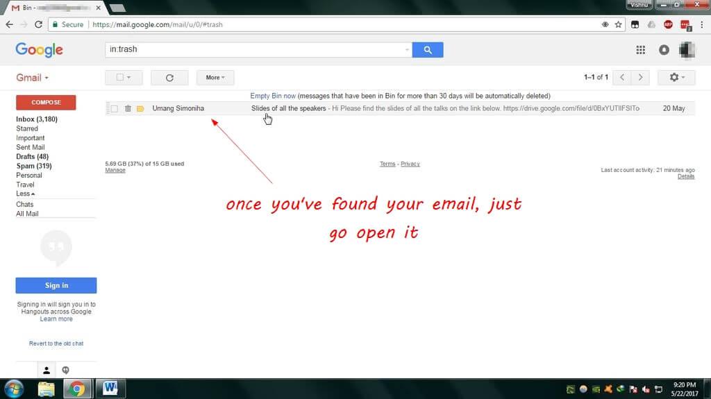retrieve gmail mails
