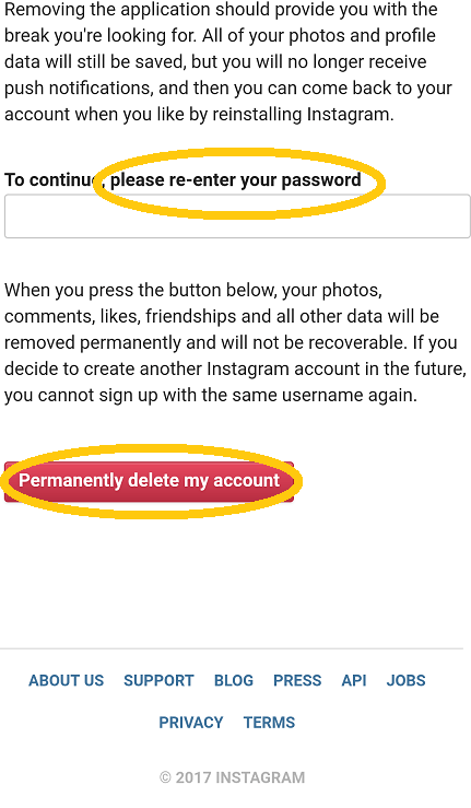 Permanently delete Instagram