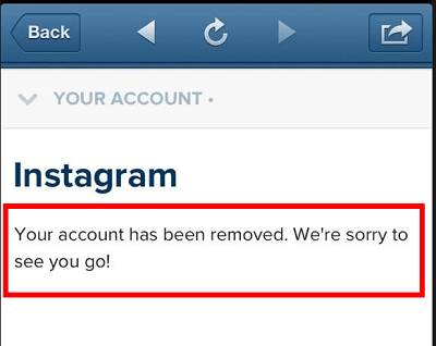 Instagram account deleted