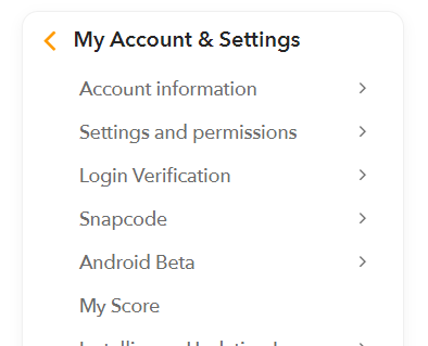 Snapchat-my account setting