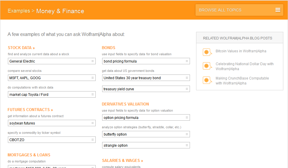 Wolfram Alpha Money and Business