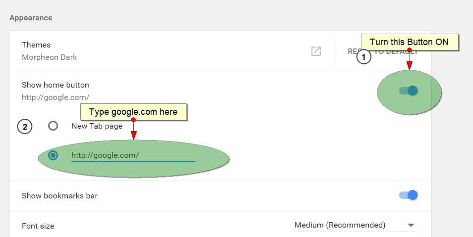 make google as homepage