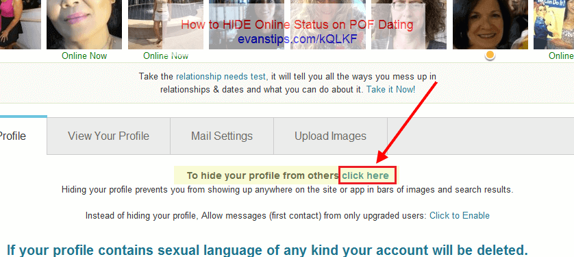 Hiding your profile on pof
