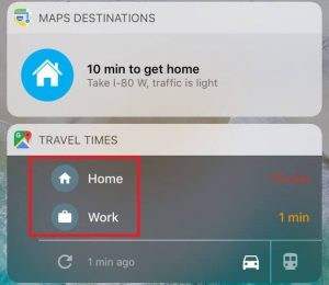 Google Maps home and work