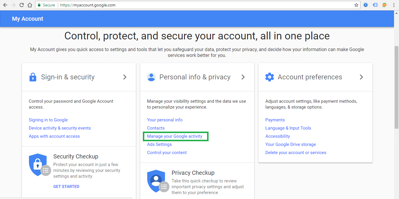 Google Account and Google Activity Management