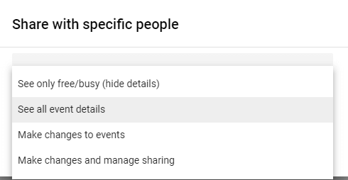 Share with specific people - Permissions