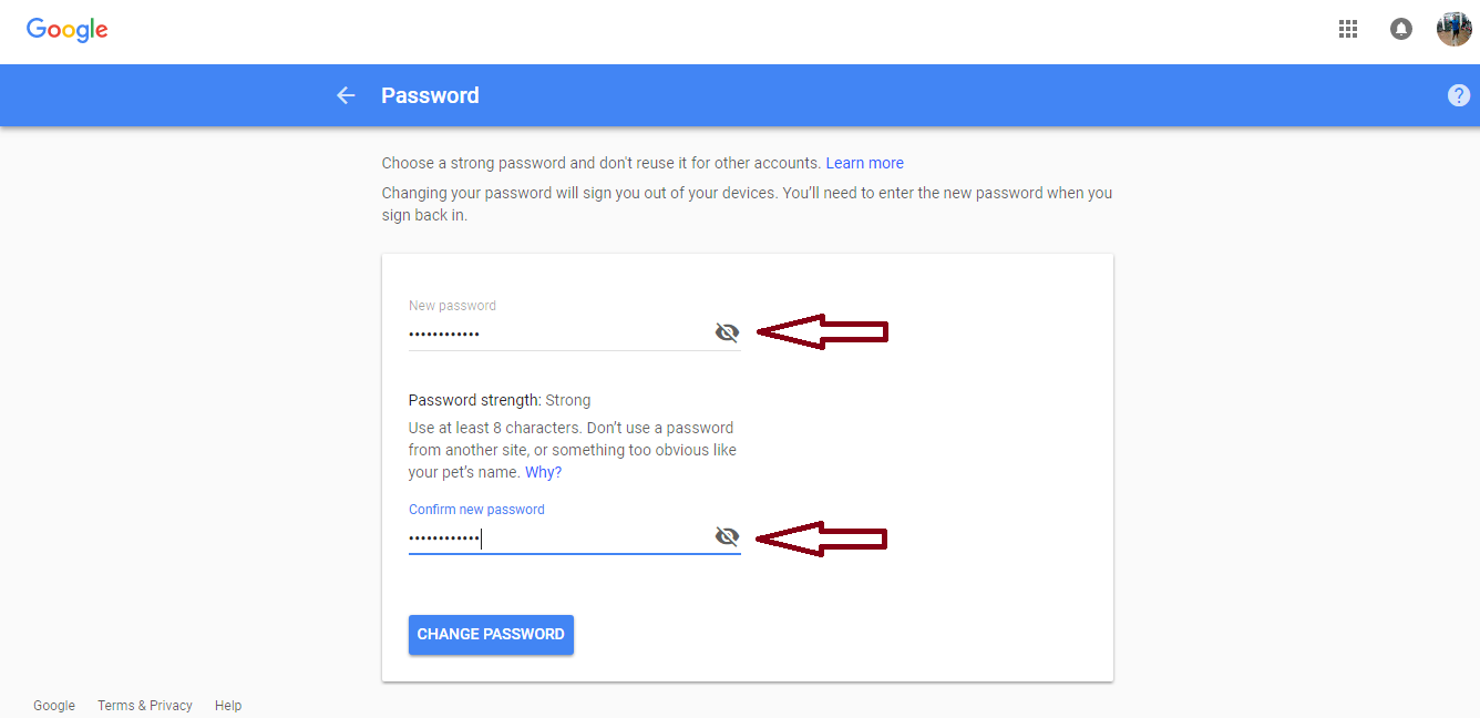 type new gmail password