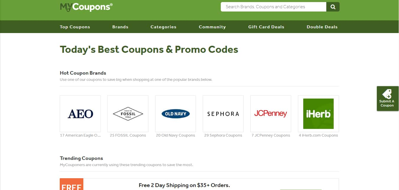 Popular Coupon Sites - MyCoupons