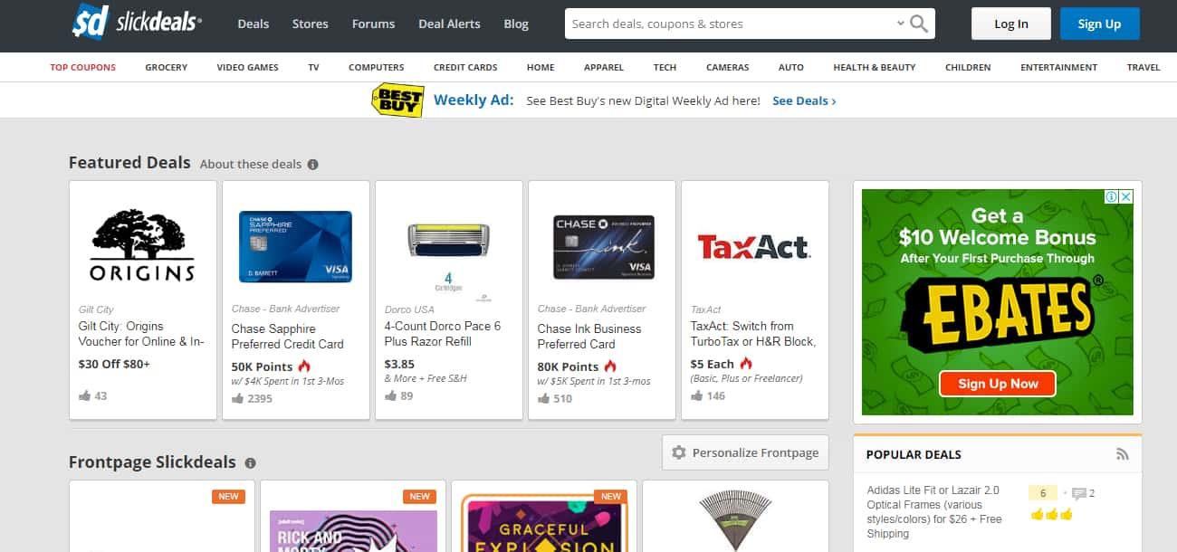 Popular Coupon Sites - SlickDeals