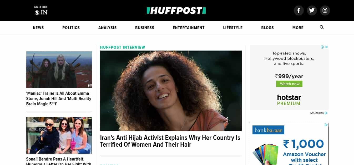 huffington post news website
