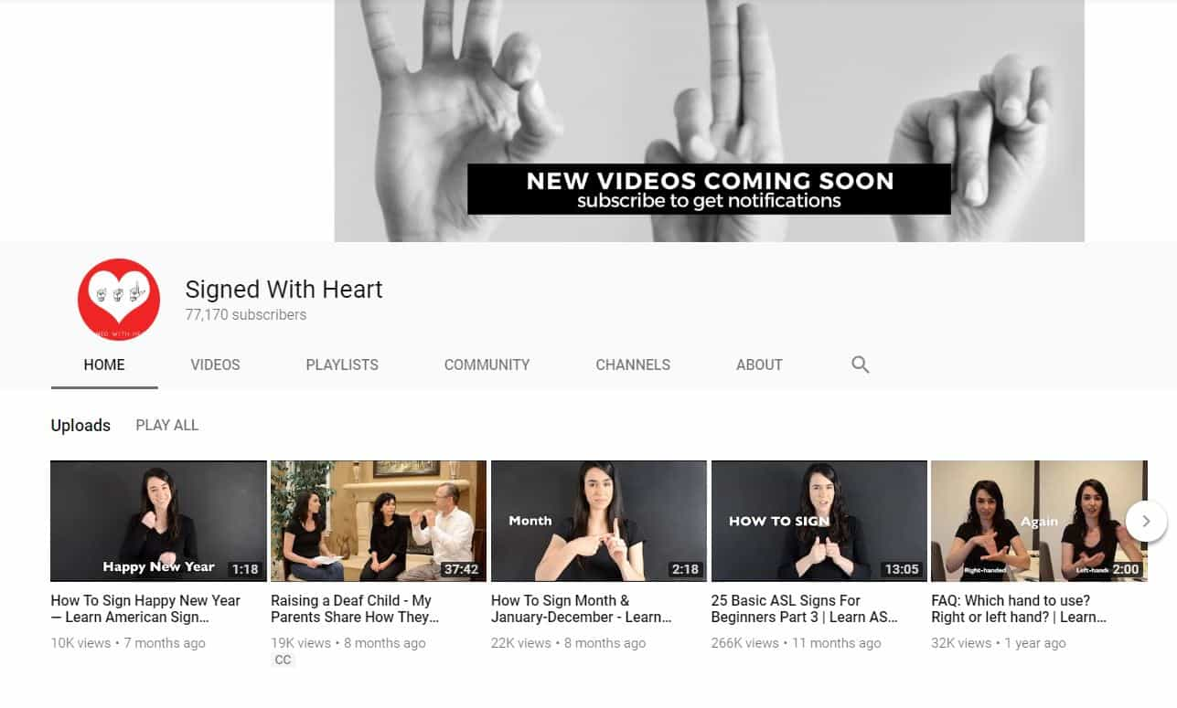 signed with hearts - Youtube sign language channel