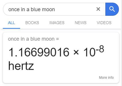 Once in a blue moon - Google easter egg