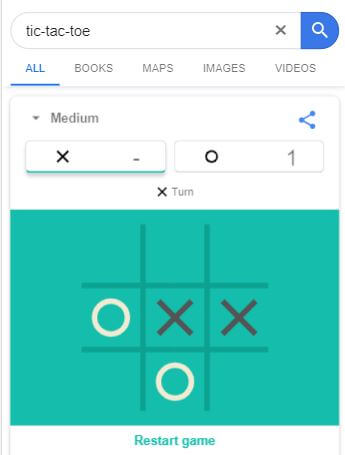 Tic Tac Toe - Google Easter Egg