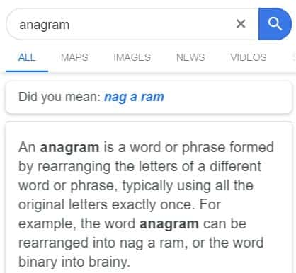 anagram - Google easter egg