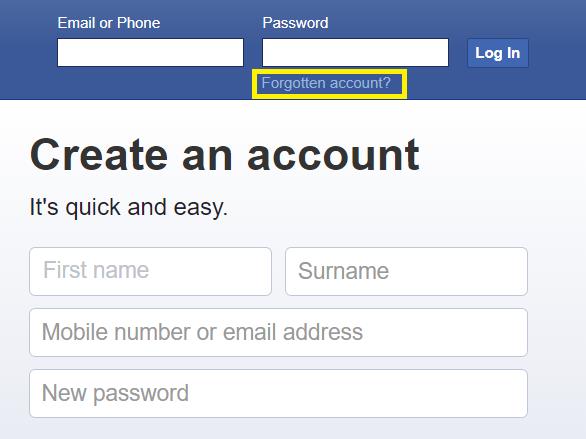 Click FB Forgotten account