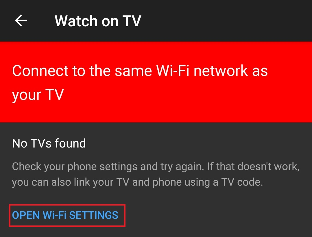 YouTube to TV setting