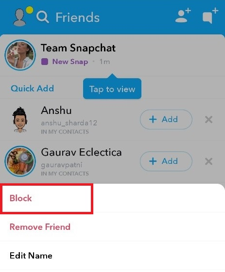 Block Snapchat friends