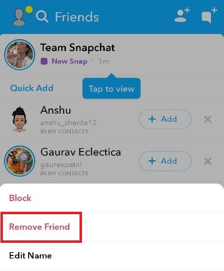 Remove Snapchat Friends