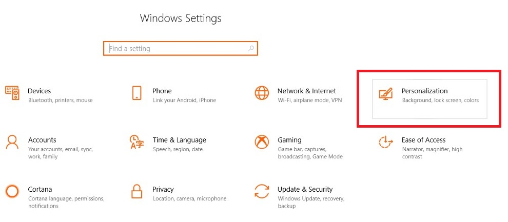 Windows Personalization Settings