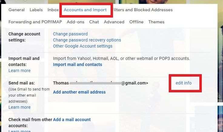 Edit Gmail Name info