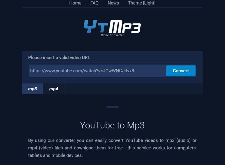 Paste URL on ytmp3