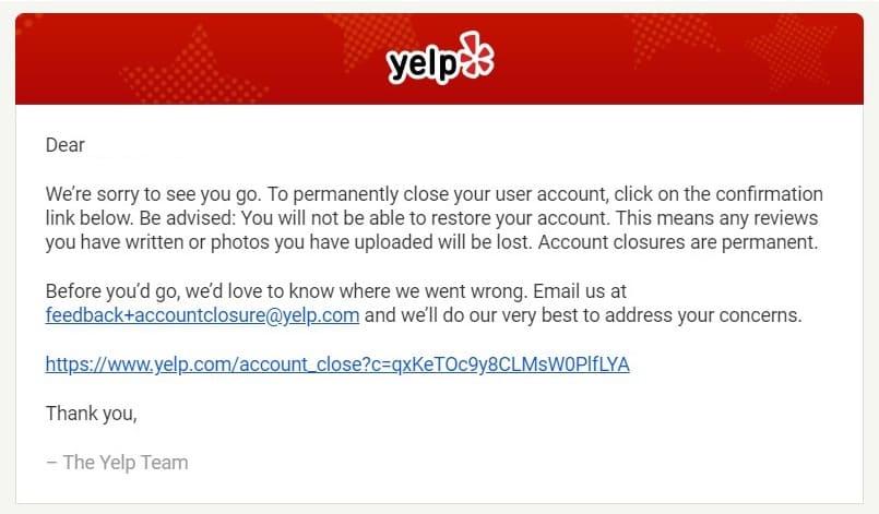 close Yelp account