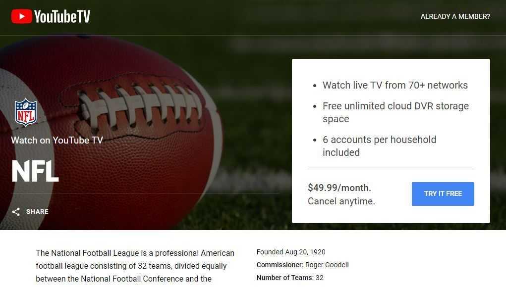 YouTube TV NFL