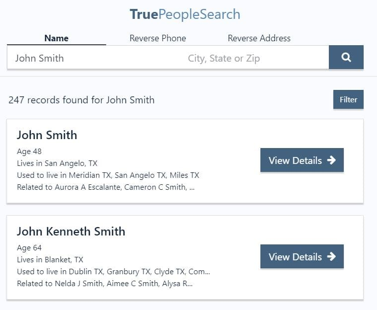 True People search sample