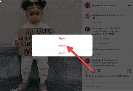 Delete Instagram Comment on PC